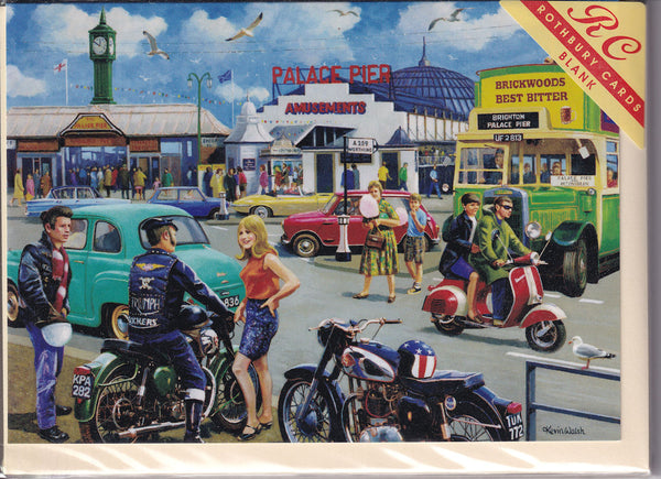 Happy Days Brighton Mods Rockers Greetings Card - Kevin Walsh