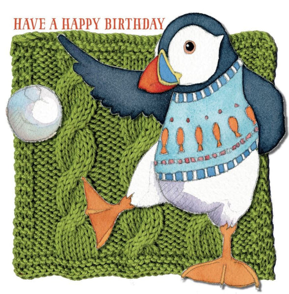 Have A Happy Birthday Football Woolly Puffin Greetings Card - Emma Ball