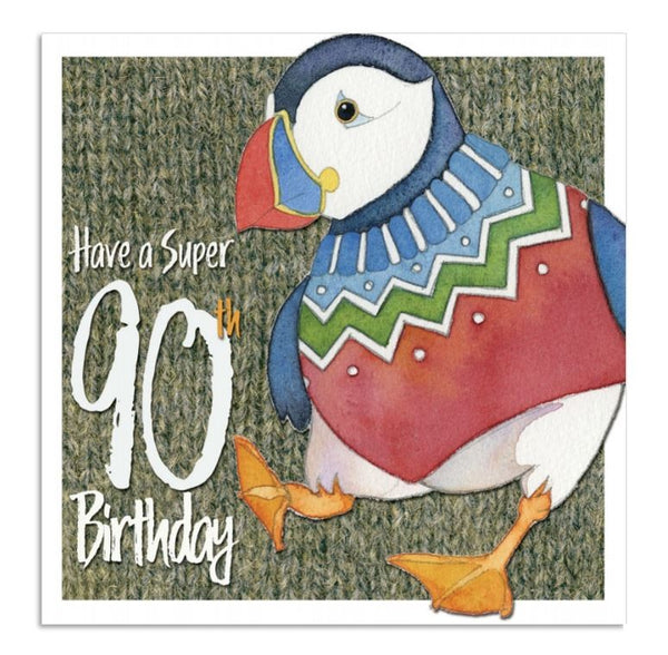 Have A Super 90th Birthday Woolly Puffin Happy Birthday Card - Emma Ball 90