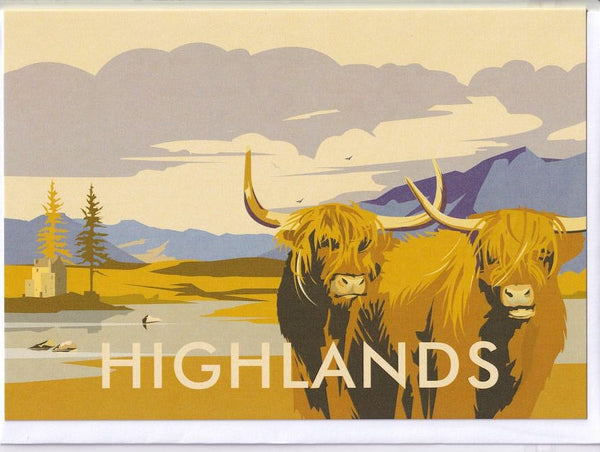 Highlands Cattle Greetings Card - Dave Thompson