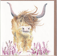 Highland Cow Harriet Greetings Card - Sarah Reilly
