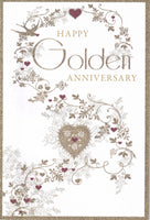 Happy Golden Wedding Anniversary Glitter Greetings Card - Nigel Quiney