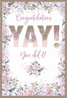 Congratulations Yay! You Did It! Glitter Greetings Card - Nigel Quiney