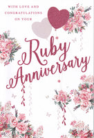 Ruby Wedding Anniversary Glitter Greetings Card - Nigel Quiney
