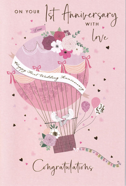 On Your First Wedding Anniversary With Love Greetings Card - Nigel Quiney