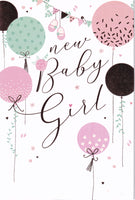 New Baby Girl Greetings Card - Nigel Quiney