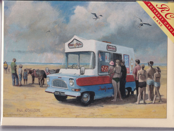Ice Cream Van On The Beach Greetings Card - Paul Atchinson