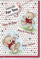 Football Teddy Bear Especially For You Happy Birthday Card