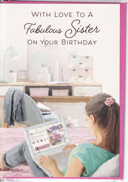 With Love To A Fabulous Sister On Your Birthday Card