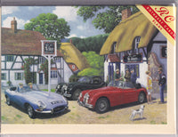Vintage Jaguar Cars At A Pub Greetings Card - Kevin Walsh