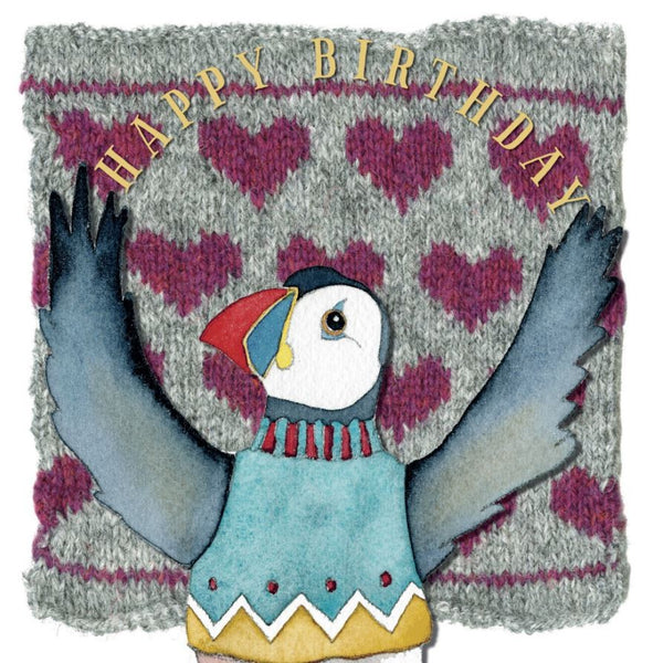 Joy Woolly Puffin Happy Birthday Card - Emma Ball
