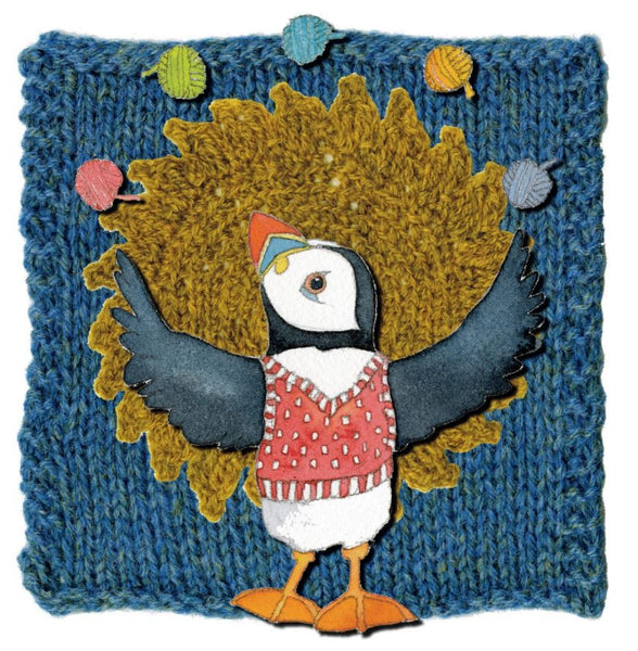 Juggling Woolly Puffin Greetings Card - Emma Ball