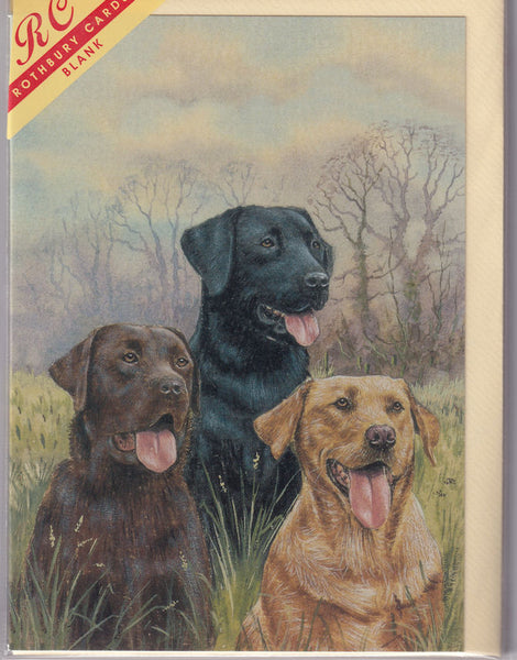 Labrador Dogs Trio Greetings Card - Kevin Wood