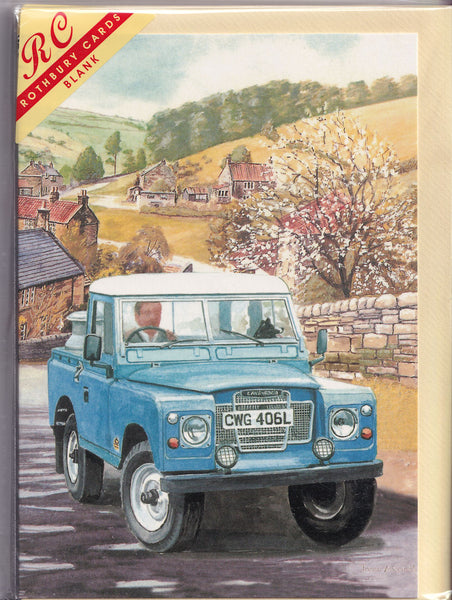 Blue Landrover Jeep Greetings Card - Trevor Mitchell