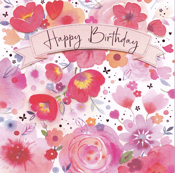 Floral Happy Birthday Card - Nigel Quiney