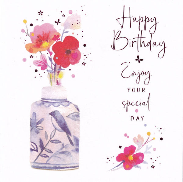 Flowers And Blue Vase Happy Birthday Card - Nigel Quiney