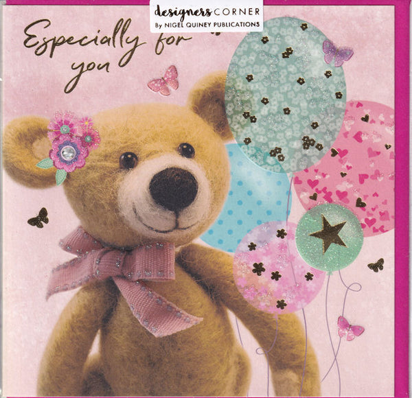 Bear With Balloons Especially For You Greetings Card - Emma Freeman