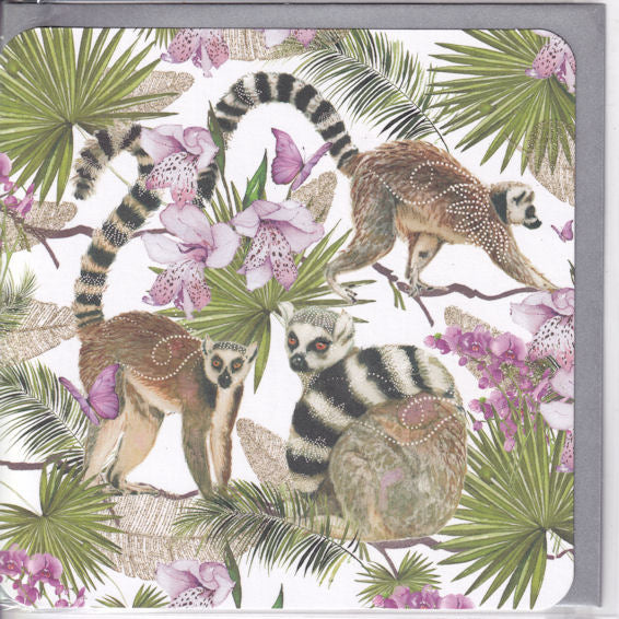 Lemurs And Flowers Glitter Greetings Card - Nigel Quiney