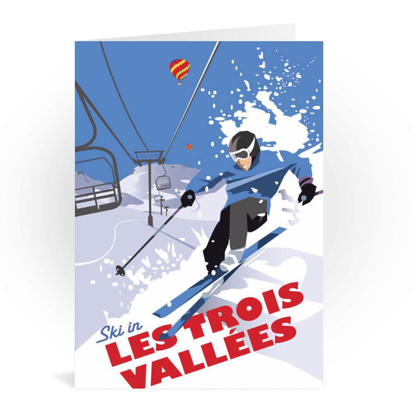 Ski In Les Trois Vallees France Greetings Card - Dave Thompson