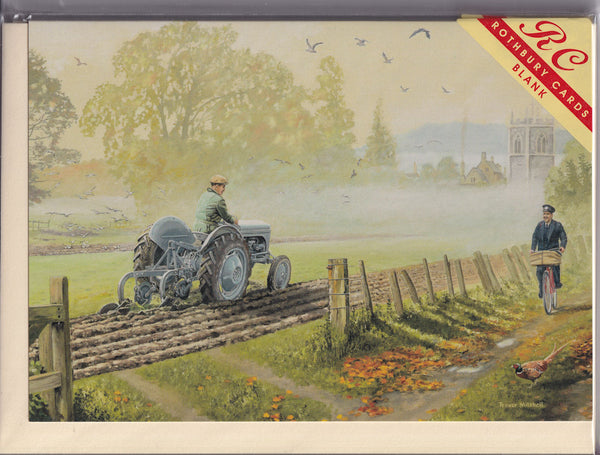 Little Grey Fergie Tractor Ploughing Greetings Card - Trevor Mitchell