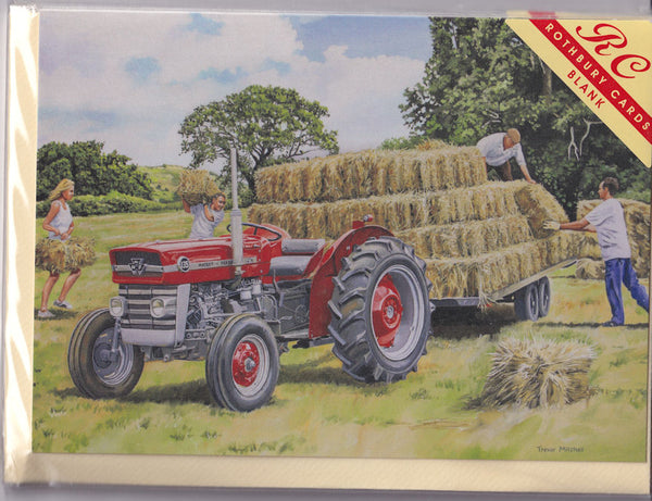 Tractor And Bales Of Hay Greetings Card - Trevor Mitchell