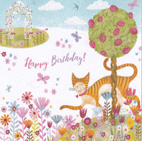 Cat In Flowers Happy Birthday! Glitter Card - Nigel Quiney