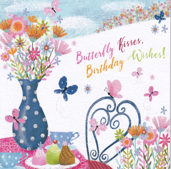 Butterfly Kisses Birthday Wishes! Glitter Card - Nigel Quiney