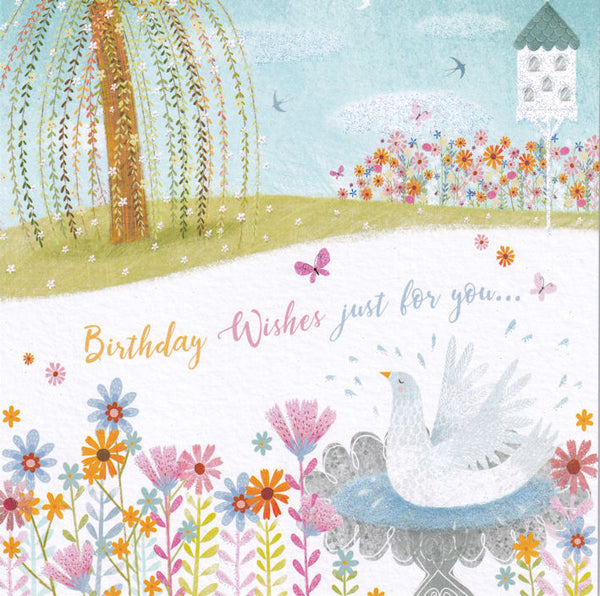 Dove Bird Bath Birthday Wishes Glitter Card - Nigel Quiney