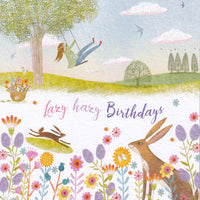Hare In Flowers Lazy Hazy Birthday Glitter Card - Nigel Quiney