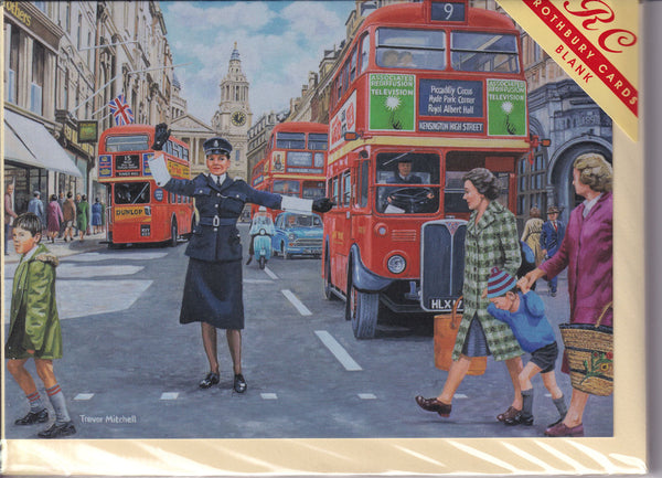 London Directing Traffic Greetings Card - Trevor Mitchell