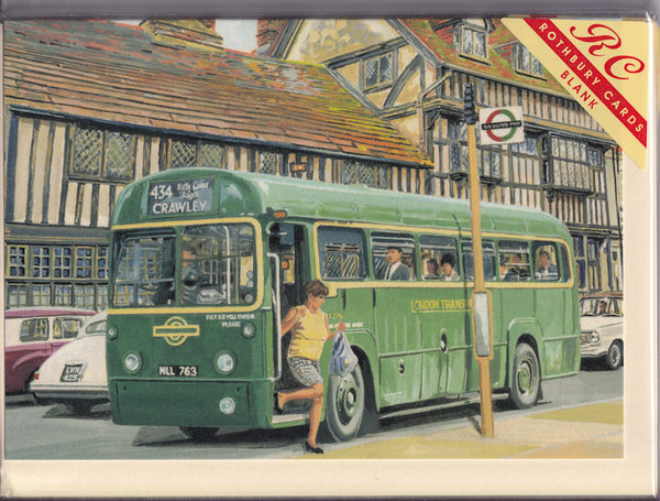 London Transport Bus To Crawley Greetings Card - Trevor Mitchell