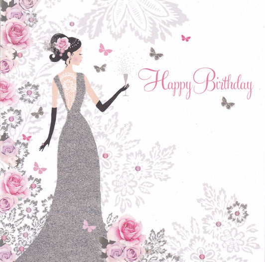 Lady With Fizz Happy Birthday Glitter Card - Nigel Quiney