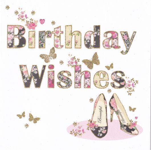 Birthday Shoes Birthday Wishes Glitter Birthday Card - Nigel Quiney