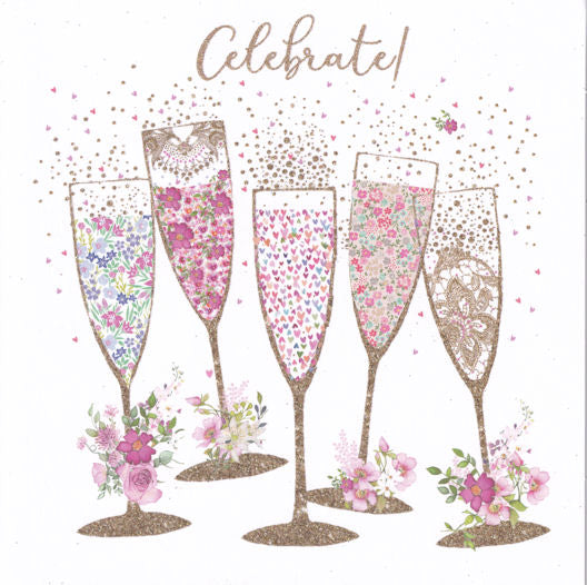 Champagne Glasses Celebrate! Glitter Greetings Card - Nigel Quiney