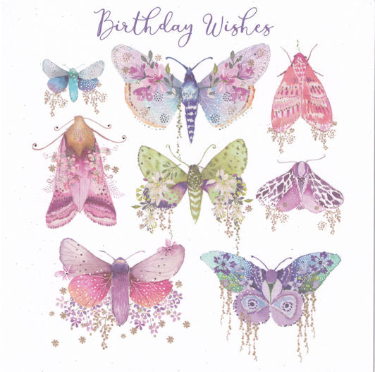 Beautiful Moths Glitter Birthday Card - Nigel Quiney