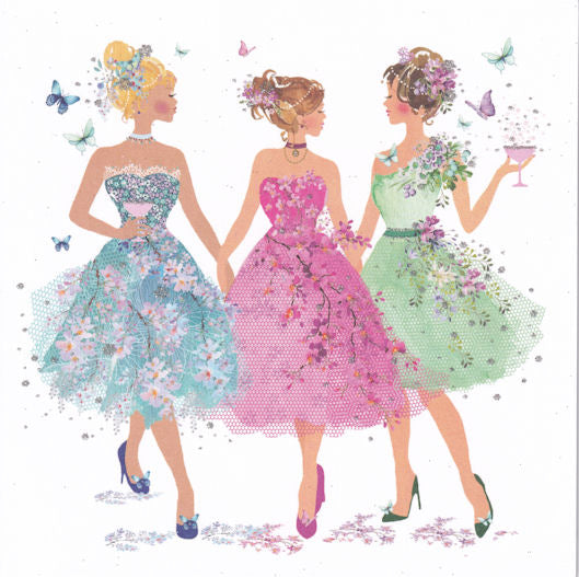 Tulle Dress Ladies Glitter Birthday Card - Nigel Quiney