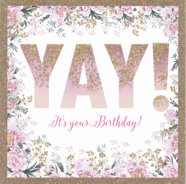 Yay! It's Your Birthday Glitter Birthday Card - Nigel Quiney