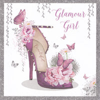 Glamour Shoe Girl Glitter Birthday Card - Nigel Quiney