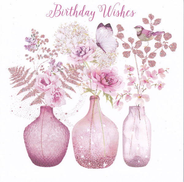Glass Vases With Flowers Glitter Birthday Card - Nigel Quiney