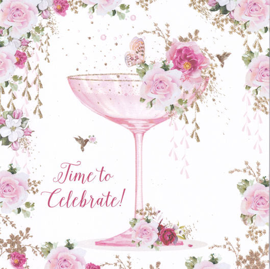 Champagne Glass Time To Celebrate! Glitter Greetings Card - Nigel Quiney