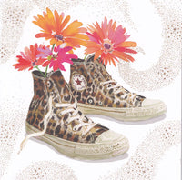 Leopard High Tops Glitter Greetings Card - Nigel Quiney