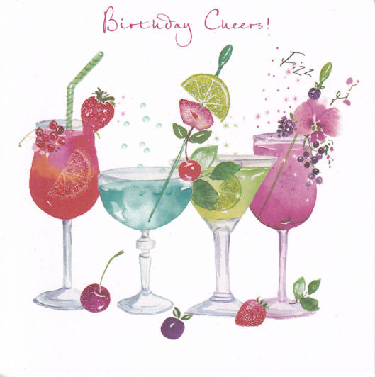 Cocktails Glitter Birthday Card - Nigel Quiney