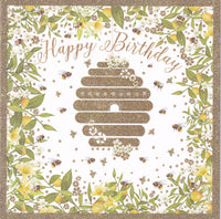 Beehive Bees Glitter Birthday Card - Nigel Quiney