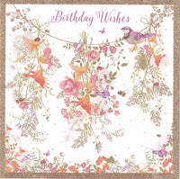 Hanging Posy Glitter Birthday Card - Nigel Quiney