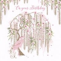 Willow Tree And Heron Bird On Your Birthday Glitter Card - Nigel Quiney