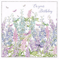 Wildflower Garden On Your Birthday Glitter Card - Nigel Quiney
