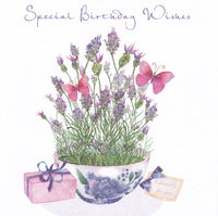 Lavender Bowl Special Birthday Wishes Glitter Birthday Card - Nigel Quiney