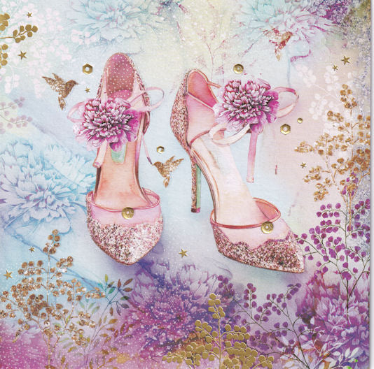 Flower Shoes Glitter Birthday Card - Nigel Quiney