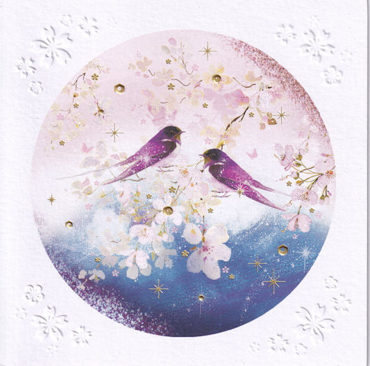 Blossom Birds Glitter Greetings Card - Nigel Quiney
