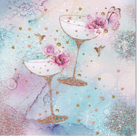 Champagne Glasses Glitter Greetings Card - Nigel Quiney